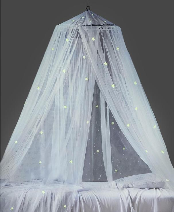 & Mombasa Glow In The Dark Stars Sheer Bed Canopy