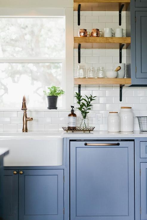 Blue Shaker Kitchen Cabinets With White Subway Tiles Cottage Kitchen