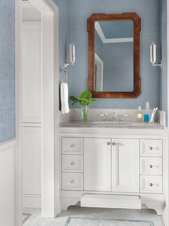 Blue Concrete Sink In Powder Room Cottage Bathroom