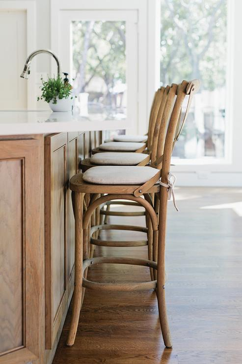 Remarkable French Cafe Wood Counter Stools Transitional Kitchen Inzonedesignstudio Interior Chair Design Inzonedesignstudiocom