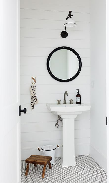 Shiplap Powder Room With Light Wood Floors Cottage