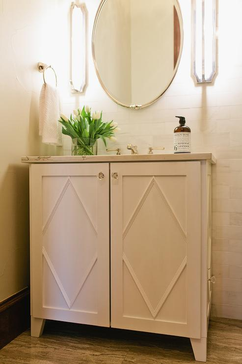 White Single Washstand with Diamond Trim Moldings on Doors