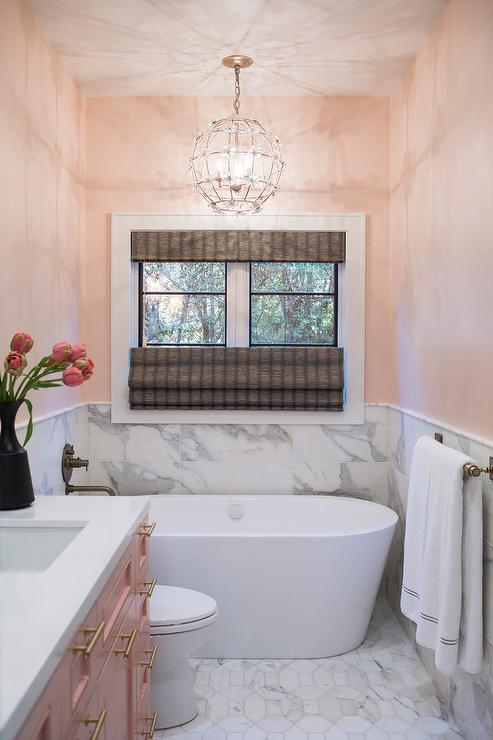 Pink Walls And Marble Tiles In Girls Bathroom Walls