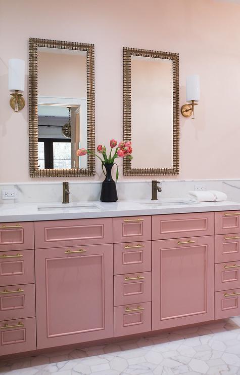 Pink Bathroom Cabinets Design Ideas, Rose Gold Bathroom Mirror Cabinet