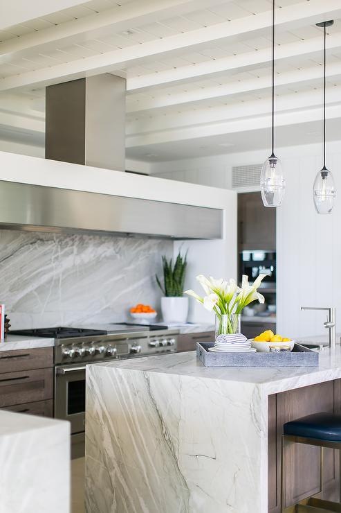 White And Gray Marble Waterfall Island Countertop