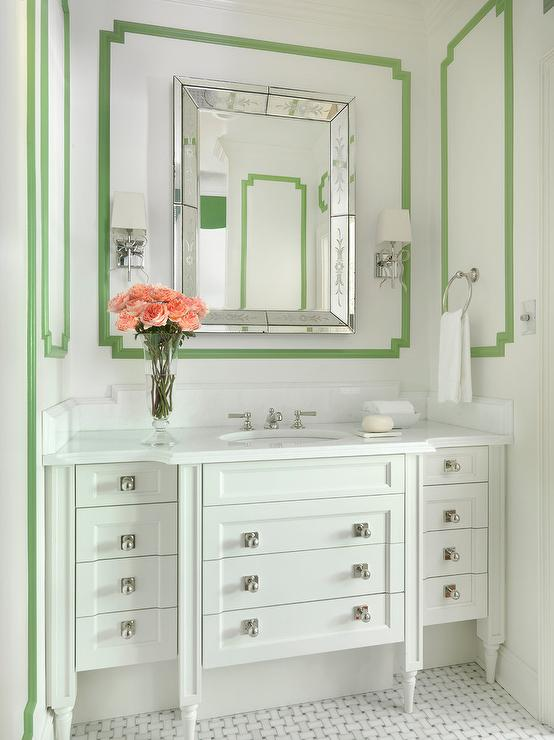 White Bathroom with Green Trim Moldings - Transitional