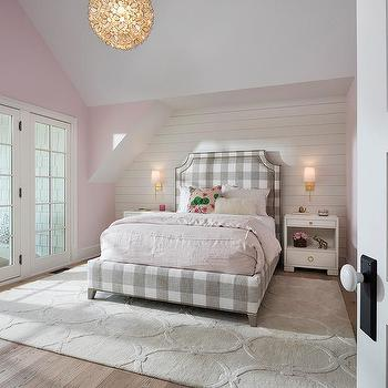 Pink Plaid Girl Bedroom Rug Design Ideas