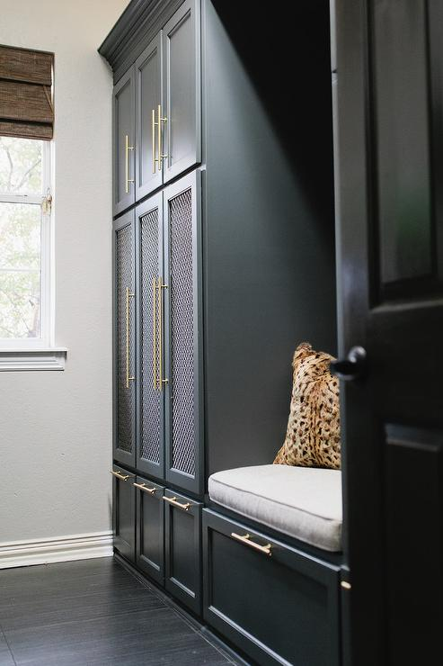 Metal Mesh Doors On Mudroom Lockers Transitional