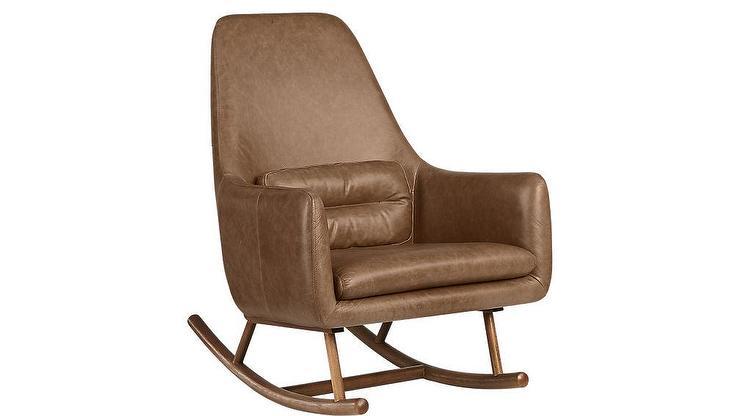 Incredible Saic Quantam Cognac Leather Rocking Chair Short Links Chair Design For Home Short Linksinfo