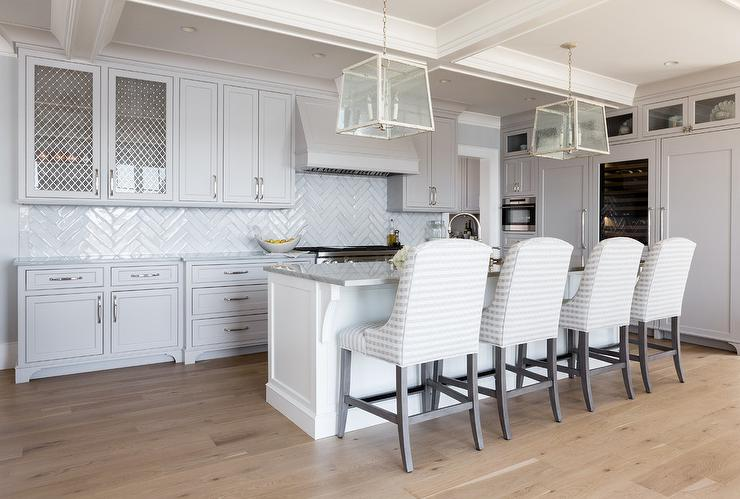 Surprising Soft Gray Kitchen Cabinets With White Herringbone Backsplash Download Free Architecture Designs Xerocsunscenecom