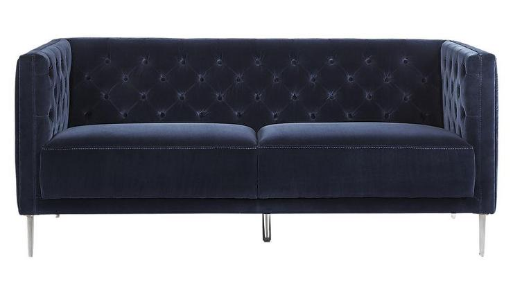 Fantastic Savile Midnight Blue Velvet Tufted Apartment Sofa Pabps2019 Chair Design Images Pabps2019Com
