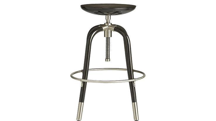 Astounding Foster Black Wood Seat Metal Adjustable Bar Stool Evergreenethics Interior Chair Design Evergreenethicsorg