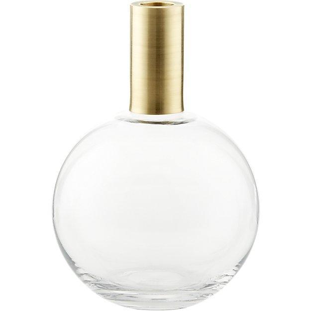 Florence Brass Neck Glass Bulb Vase