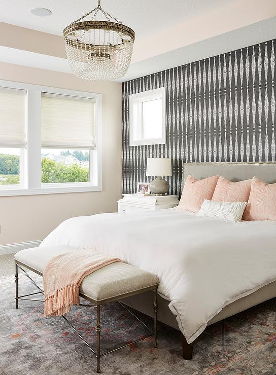 Black and White Wallpaper on Headboard Wall - Transitional ...