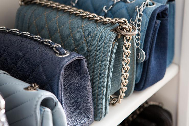 234f7cf6aeb2 Blue and denim Chanel handbags designed with a color sortation bringing an  organized and stylish feel to a luxury walk-in closet.
