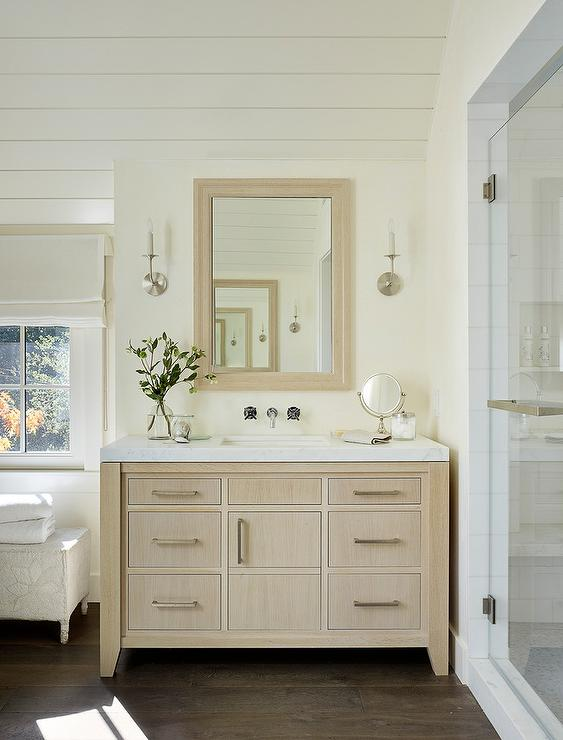 Fantastic Light Tan Washstand With White Marble Transitional Bathroom Download Free Architecture Designs Embacsunscenecom