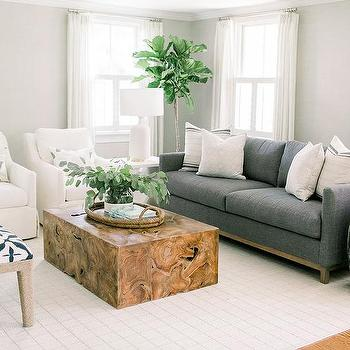Wood Block Living Room Accent Table Design Ideas