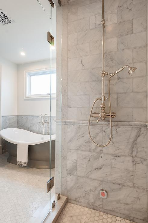 Mixed Gray Marble Shower Tiles With Marble Chair Rail Tiles Transitional Bathroom