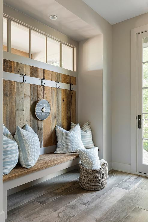 Enjoyable Barn Wood Mudroom Walls And Bench Transitional Laundry Room Caraccident5 Cool Chair Designs And Ideas Caraccident5Info