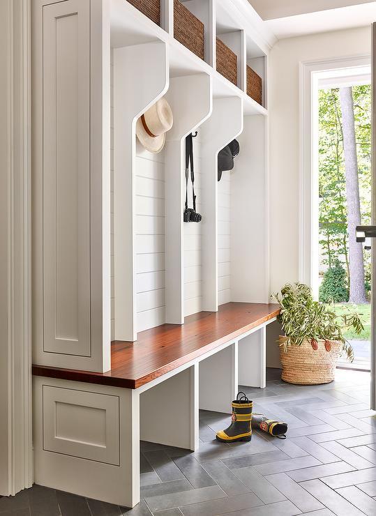 Incredible Shiplap Clad Mudroom Lockers With Stained Wooden Bench Squirreltailoven Fun Painted Chair Ideas Images Squirreltailovenorg
