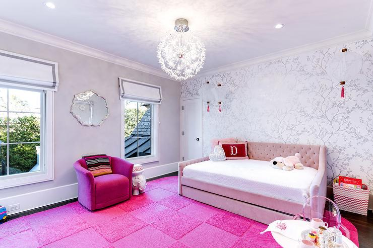 Pink Girls Room with Hot Pink Carpet Tiles - Contemporary ...