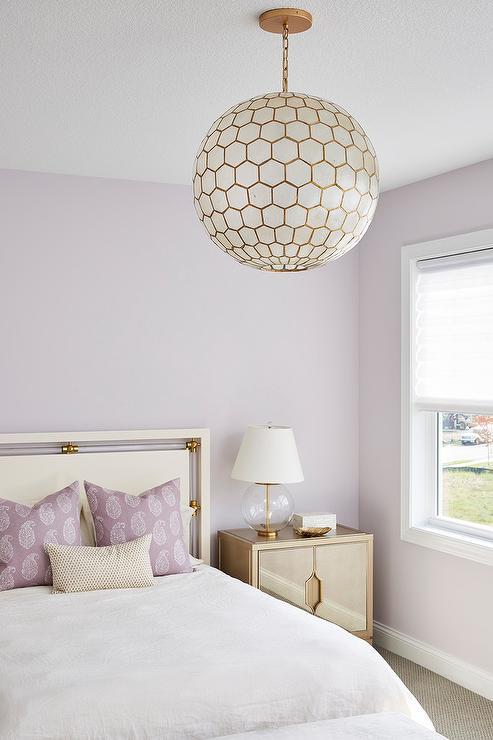 Capiz Globe Chandelier In Soft Purple And Gold Bedroom Transitional Bedroom
