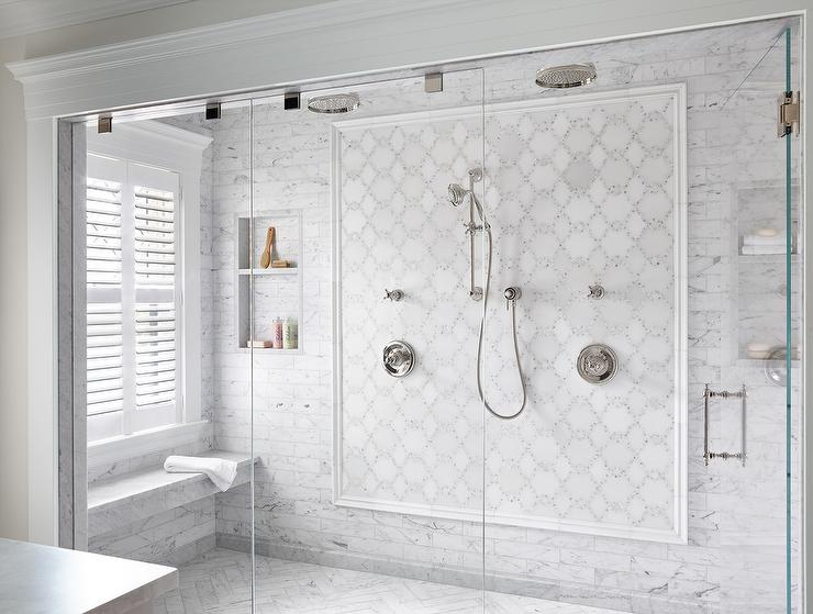 Mosaic Marble Wall To Wall Shower With His And Her Shower