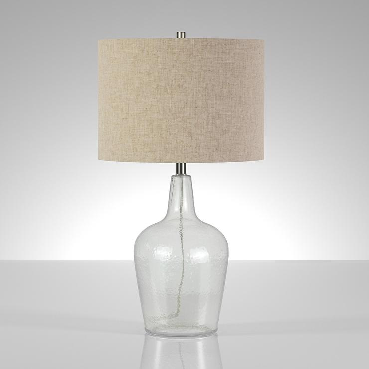 Helix Fillable Seeded Glass Flax Shade Table Lamp