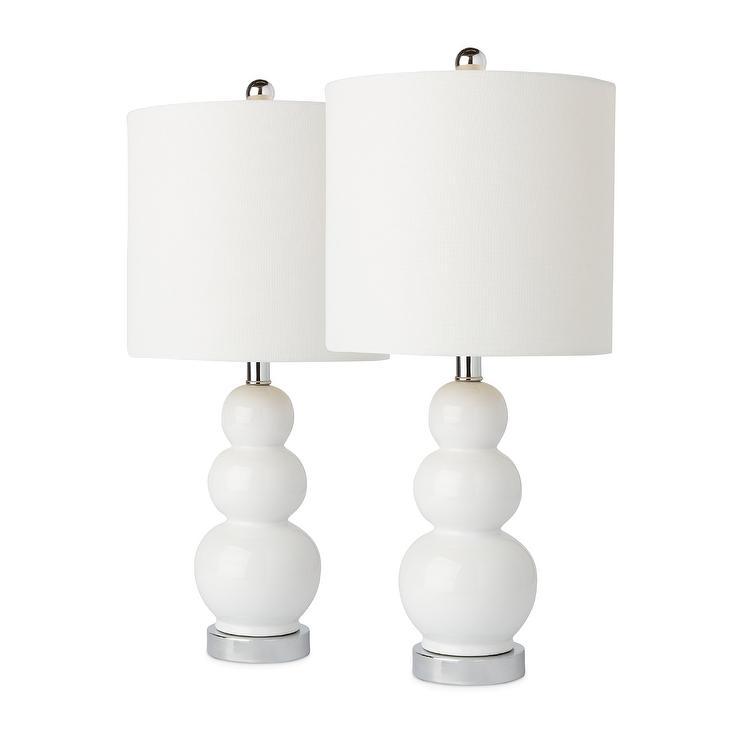Camden Gourd White Ceramic Silver Table Lamp Set