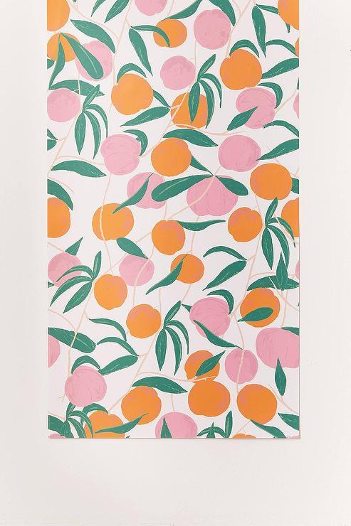 stick on pattern removable modern pink orange peaches wallpaper