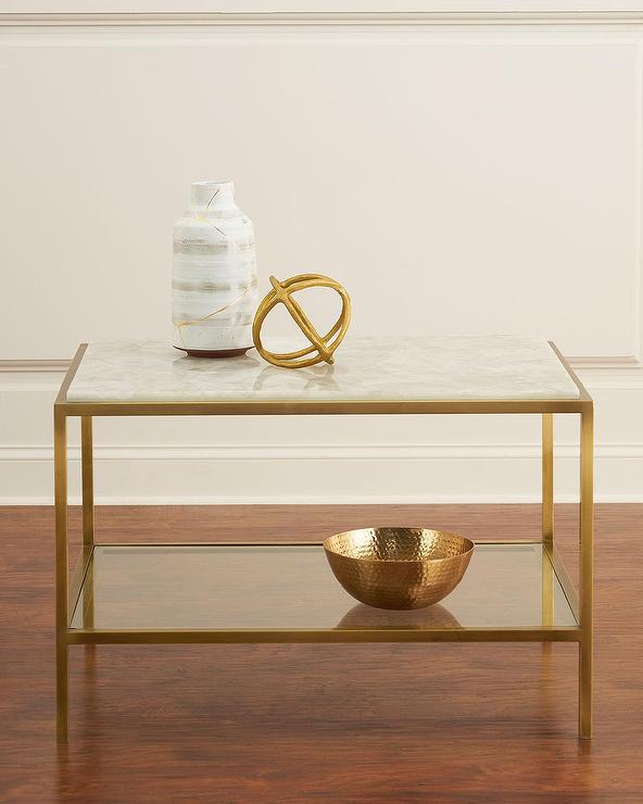 3053b68a570 White Calcite Glass Antiqued Brass Side Table