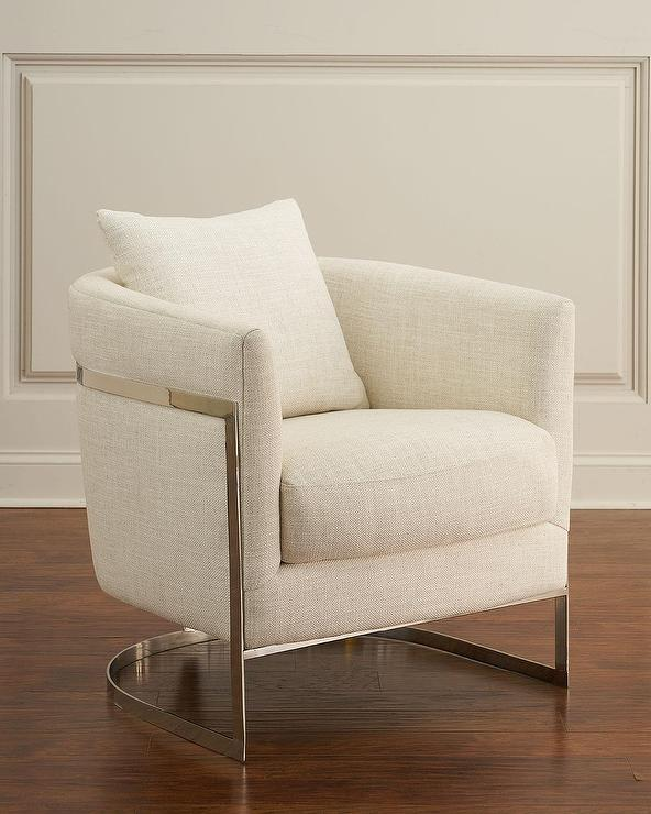 Pier 1 Accent Chairs Off White.Downing Curved Cream Linen Chrome Accent Chair