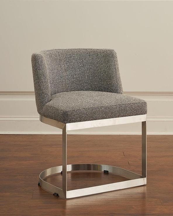 Strange Highgate Curved Gray Tweed Stainless Steel Dining Chair Lamtechconsult Wood Chair Design Ideas Lamtechconsultcom