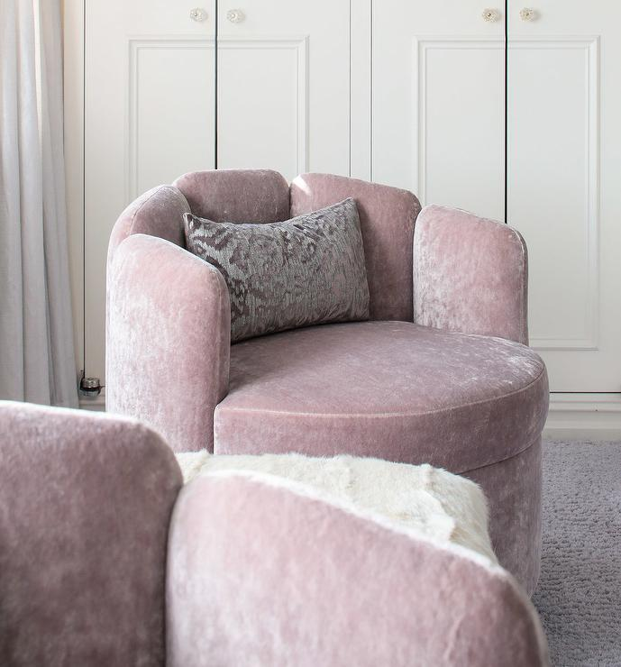 Superb Pink Velvet Swivel Accent Chairs With Gray Pillows Caraccident5 Cool Chair Designs And Ideas Caraccident5Info