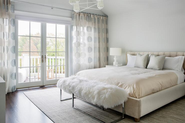 Cream Suede Bed with Sheepskin Bench - Transitional - Bedroom