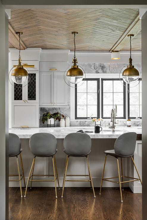 Gold And Gray Kitchen Accent Colors Transitional Kitchen