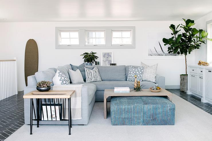 Surprising Gray Slipcovered Sofa With Blue Ottoman As Coffee Table Onthecornerstone Fun Painted Chair Ideas Images Onthecornerstoneorg