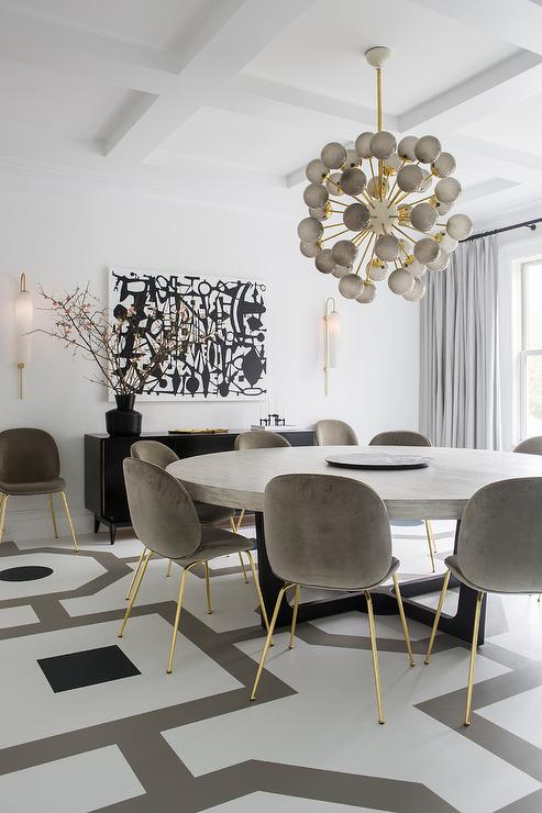 White And Gray Painted Dining Room Floors Contemporary Dining Room