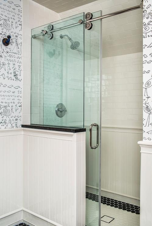 Walk In Shower With Glass Doors On Rail Transitional