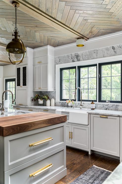 White Barrel Kitchen Hood Transitional Kitchen