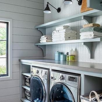 Shelves above washer dryer design ideas - Laundry room wall ideas ...