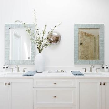 White and Blue Shared Bathroom Design