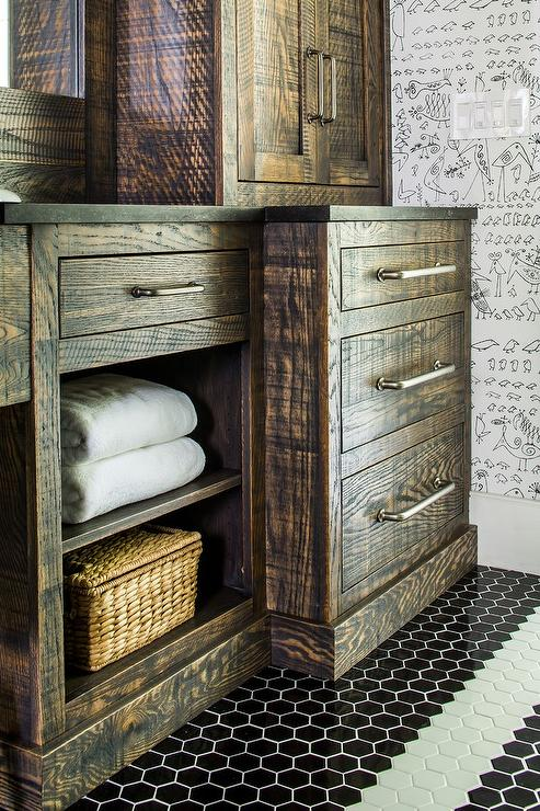 Country Style Bathroom With Reclaimed Wood Sink Vanity