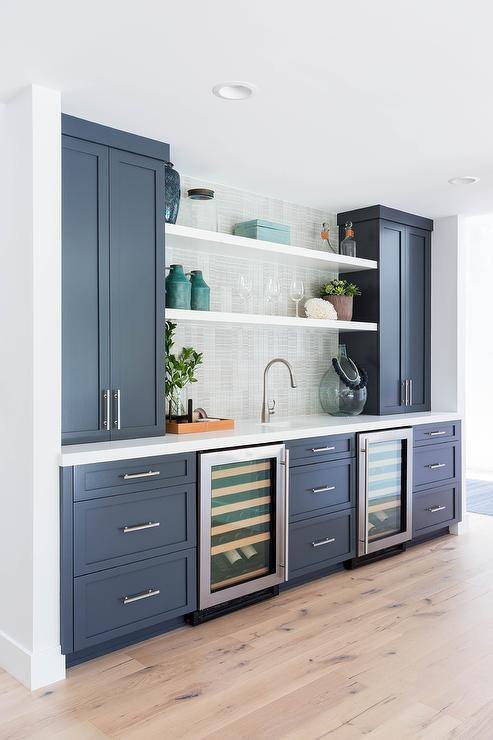 Blue Butlers Pantry Cabinets With Dual Mini Wine Coolers