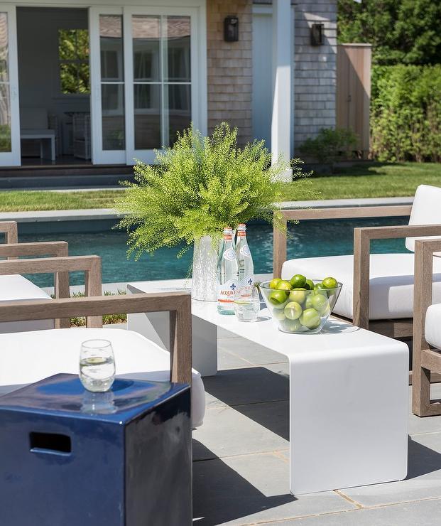 Sleek Outdoor White Waterfall Coffee Table
