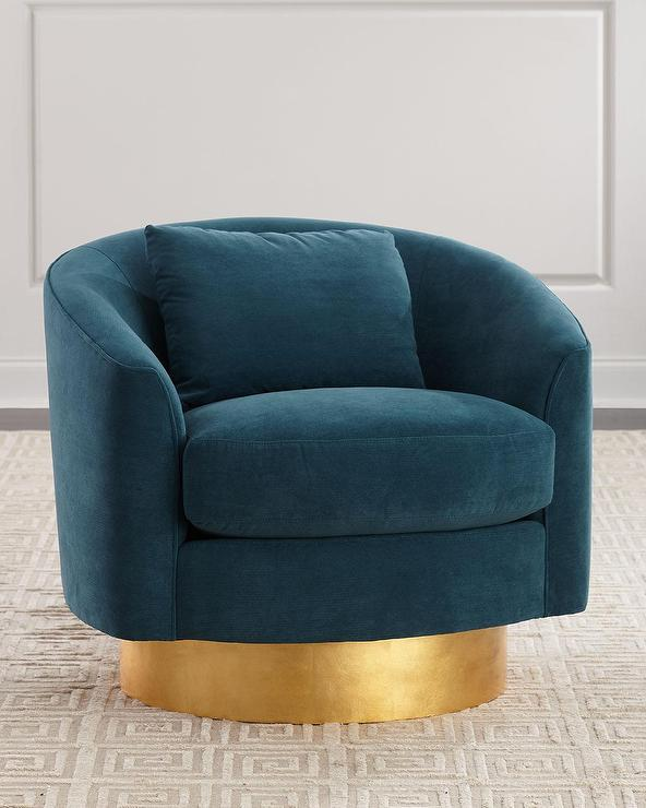 Astonishing Peacock Curved Teal Velvet Brass Base Swivel Chair Unemploymentrelief Wooden Chair Designs For Living Room Unemploymentrelieforg