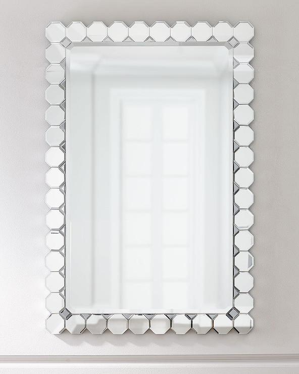 Jewel Octagonal Pattern Frame Beveled Mirror