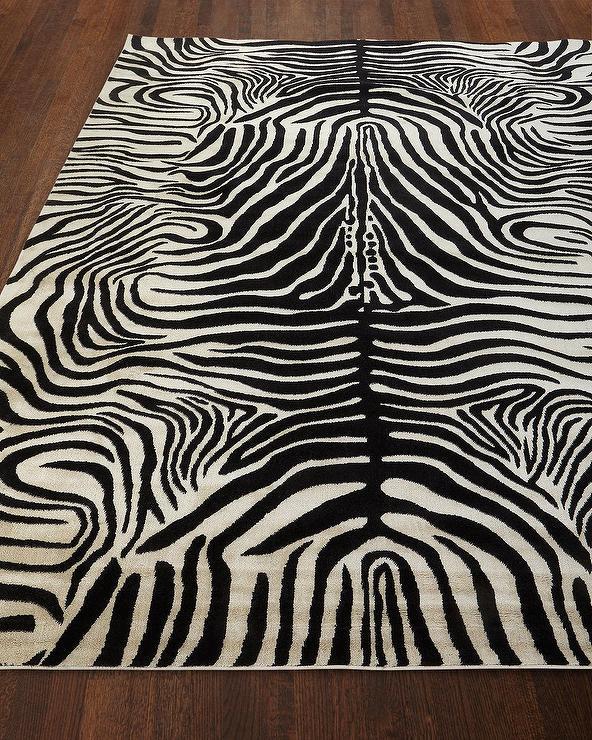 Dariya Black White Zebra Pattern Wool Rug