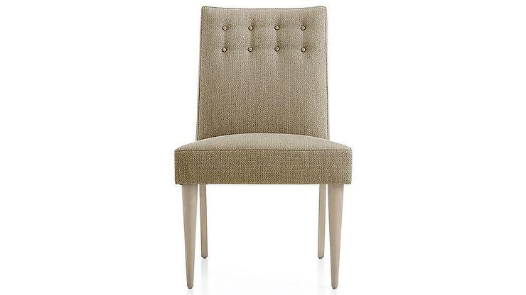 World Market Gray Linen Tufted Dining Chair