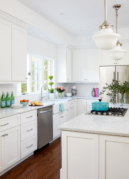 All White Kitchen with Aqua Blue Accents - Transitional ...